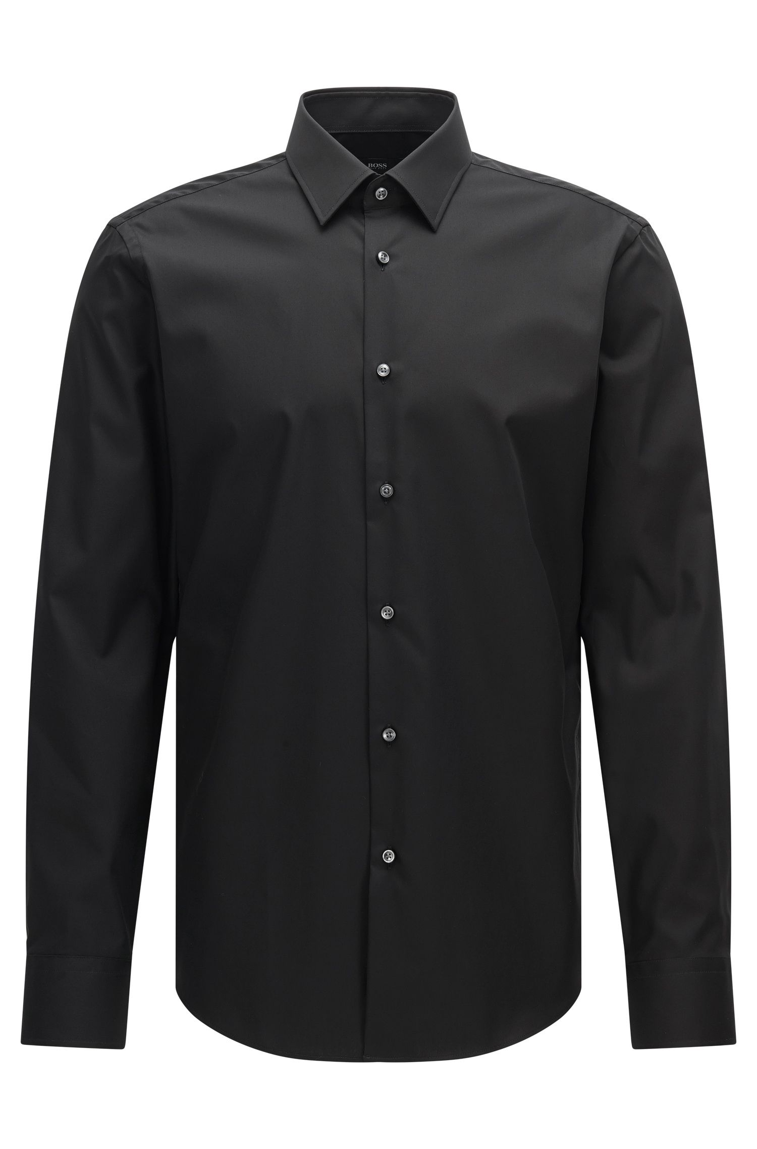 Regular-fit business shirt in pure cotton