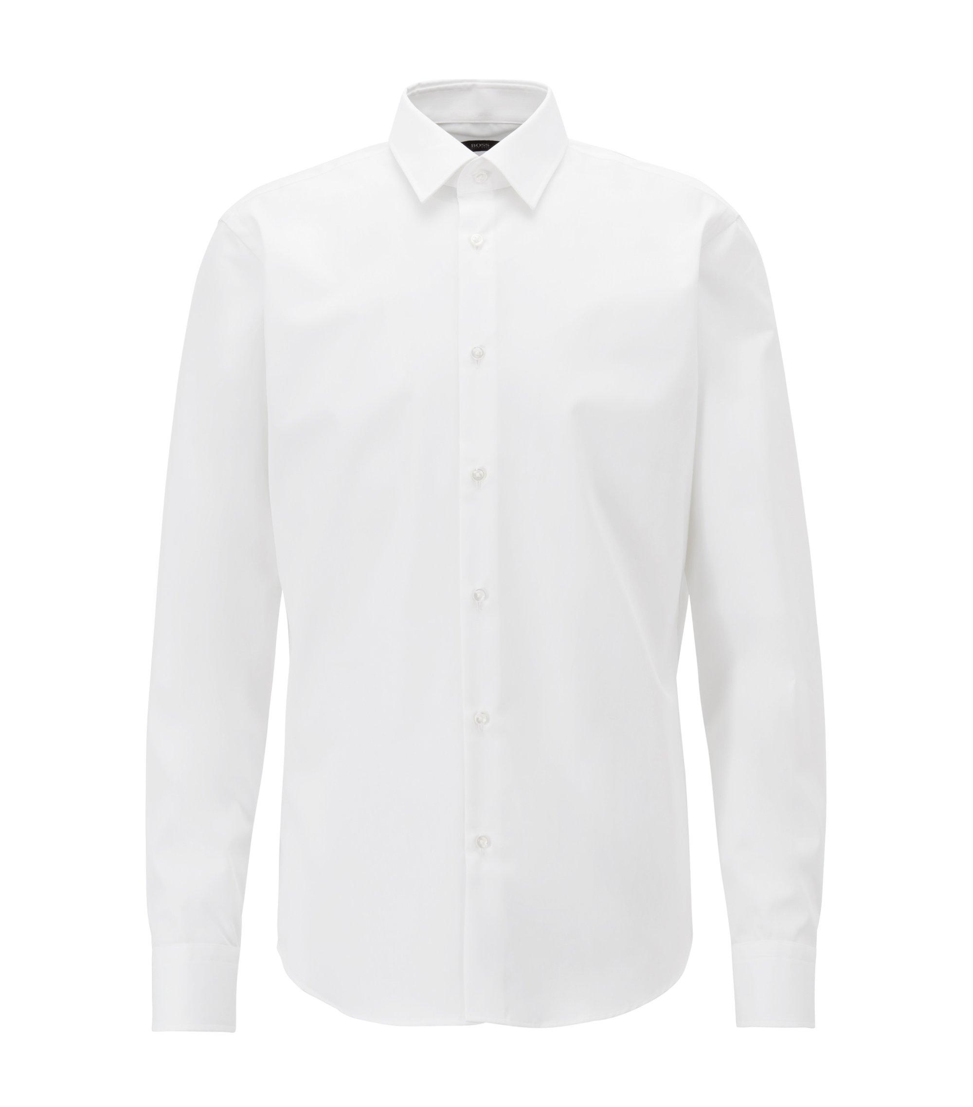Regular-Fit Business-Hemd aus reiner Baumwolle, Weiß