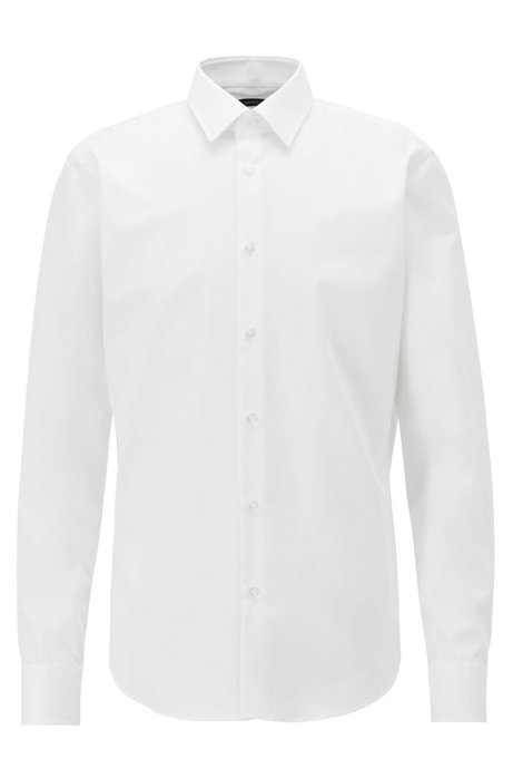 Regular-fit business shirt in pure cotton, White