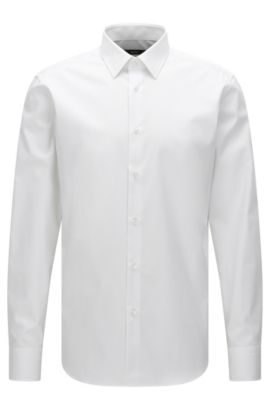 Camisa business regular fit en puro algodón, Blanco
