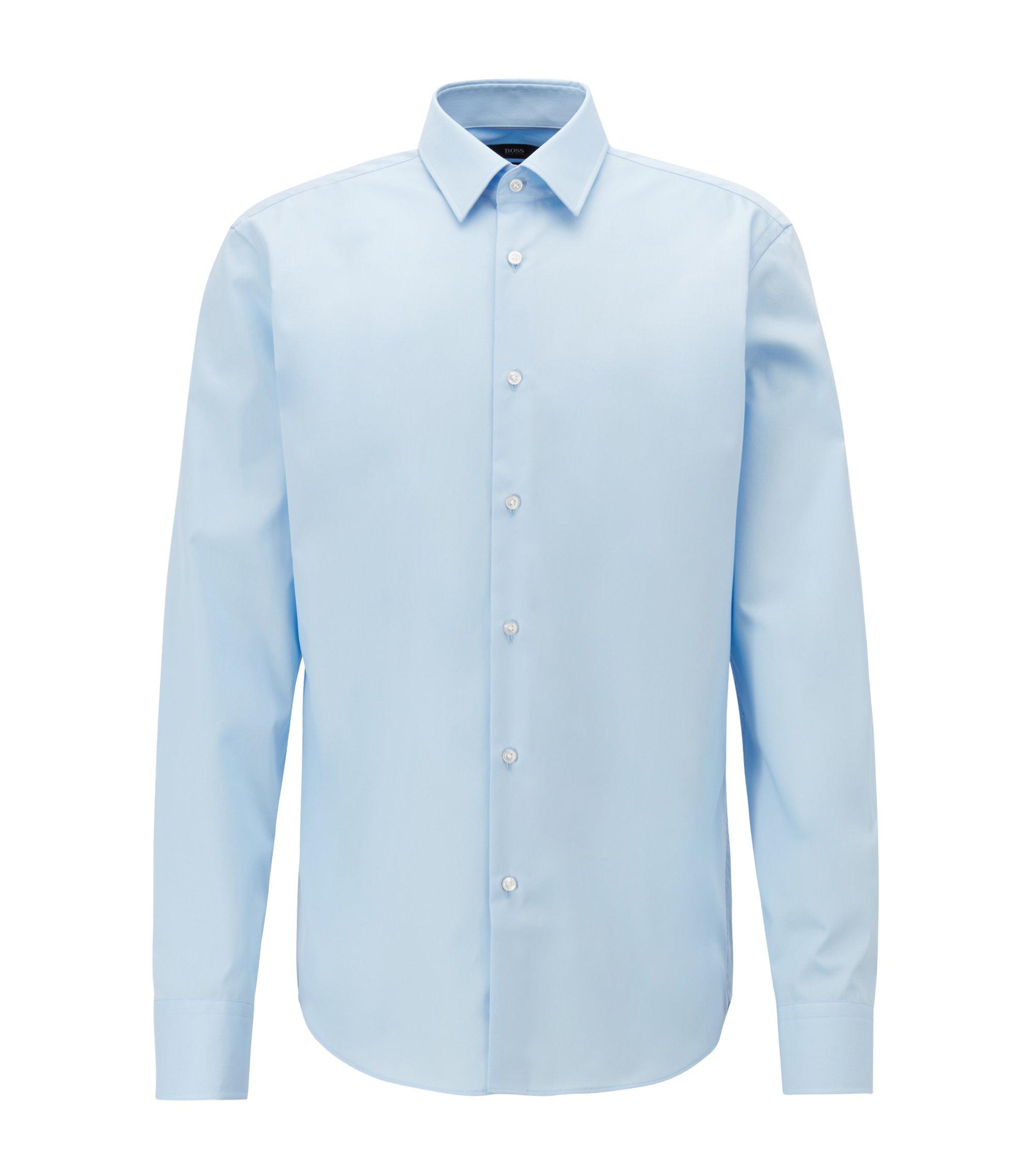 Regular-Fit Business-Hemd aus reiner Baumwolle, Hellblau