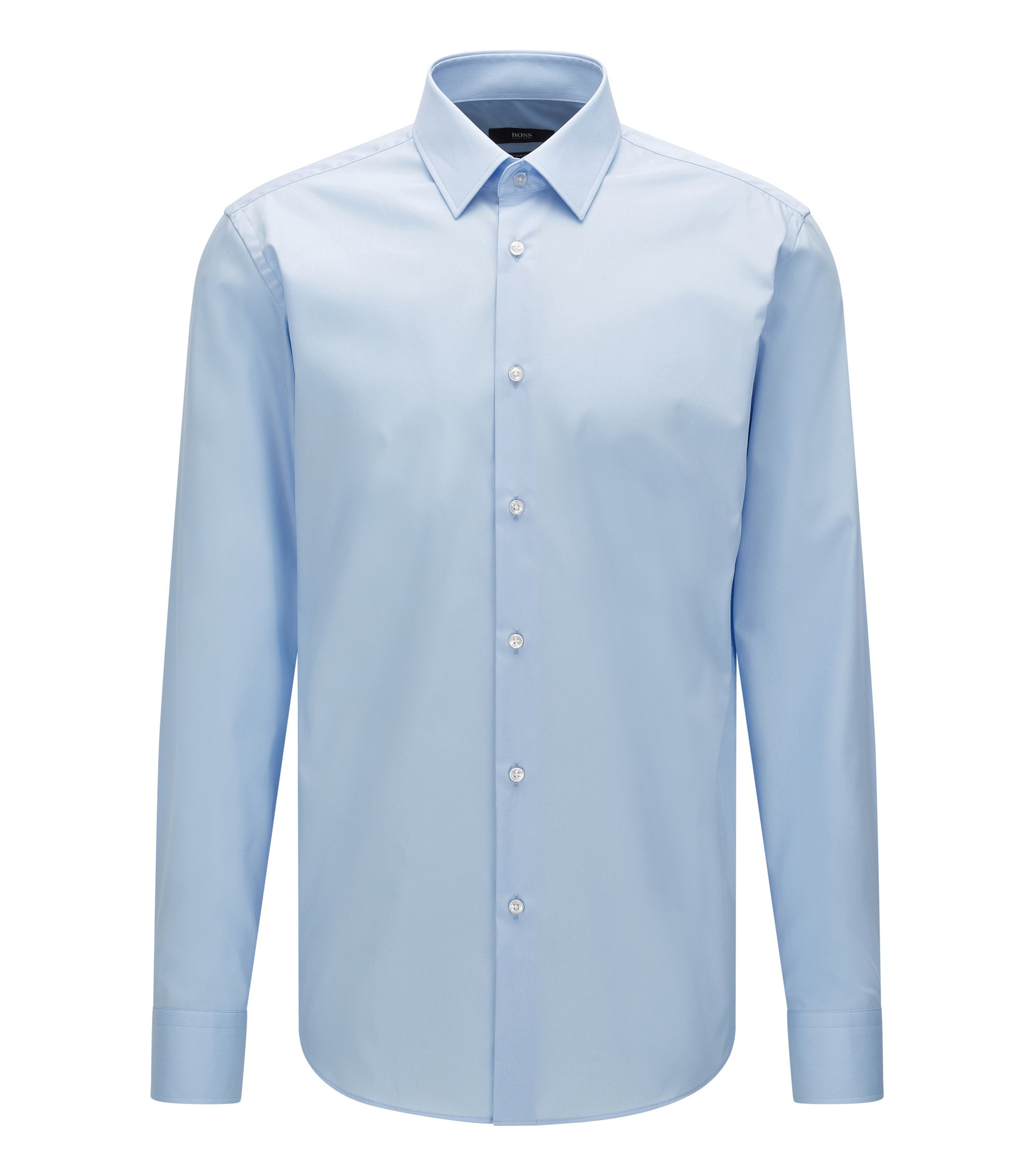 Regular-fit business shirt in pure cotton, Light Blue