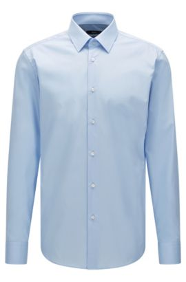 Camicia business regular fit in puro cotone, Celeste