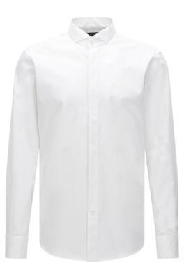 Chemise de bureau Regular Fit à col cassé en coton, Blanc
