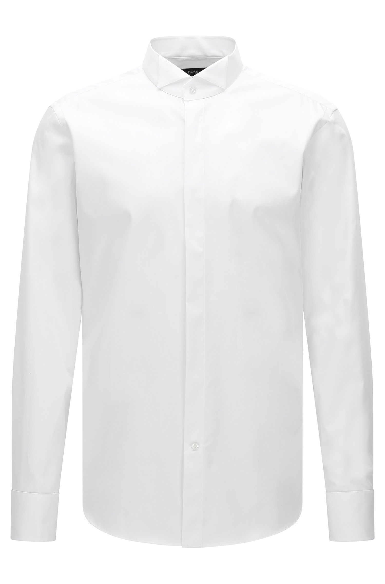Regular-fit cotton business shirt with wing collar