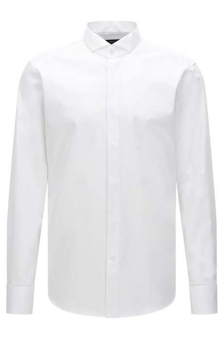 Regular-fit cotton business shirt with wing collar, White