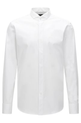 Camicia business regular fit in cotone con colletto, Bianco