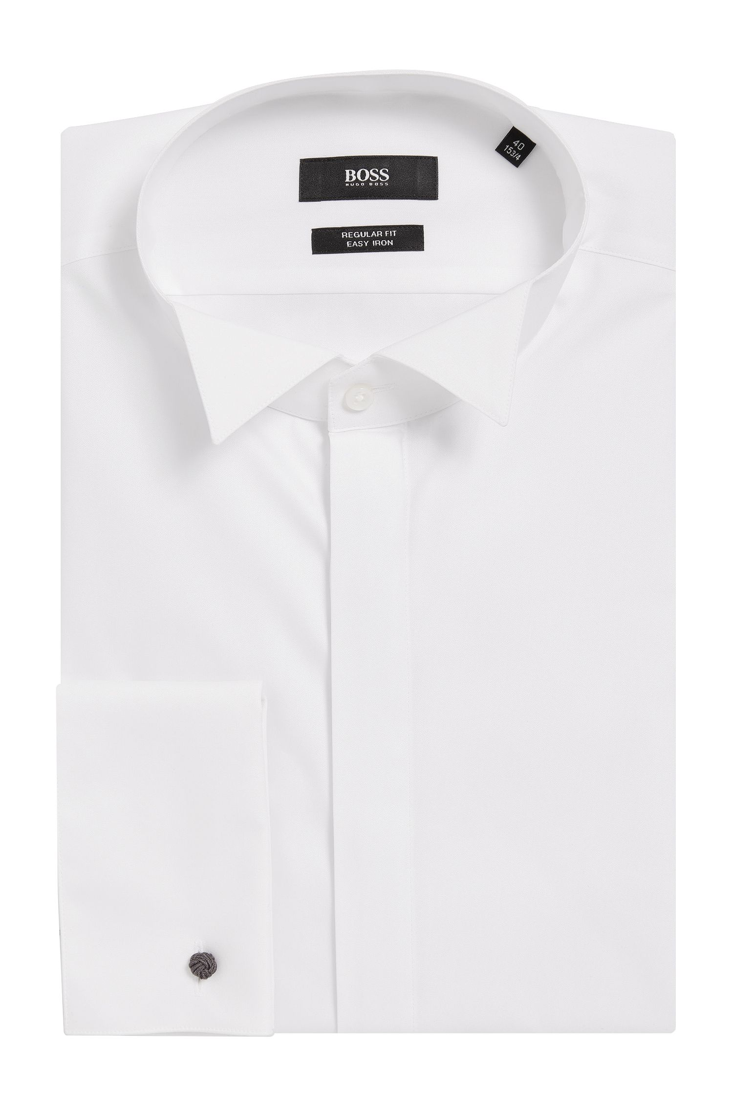 Camisa business regular fit en algodón con cuello de pajarita, Blanco