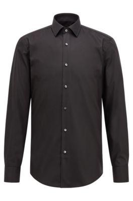 Slim-Fit Business-Hemd aus Baumwoll-Popeline, Schwarz