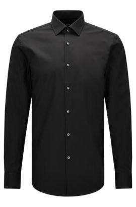 Camicia business slim fit in popeline di cotone, Nero