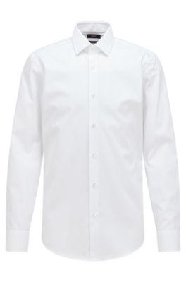 Chemise de bureau Slim Fit en popeline de coton, Blanc