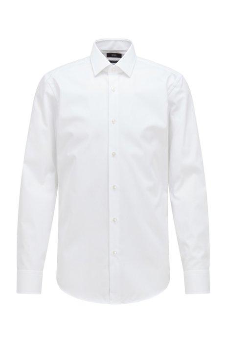 Chemise business Slim Fit en popeline de coton, Blanc