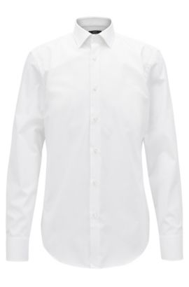 Camicia business slim fit in popeline di cotone, Bianco