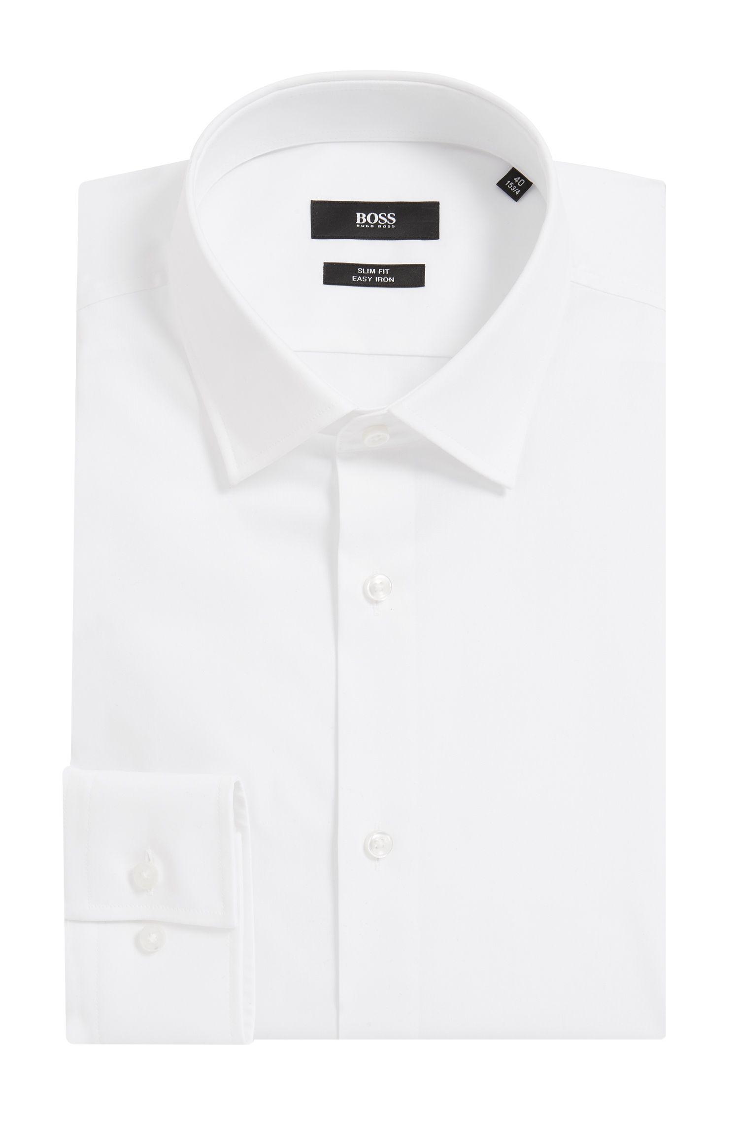 Camisa business slim fit en popelín de algodón