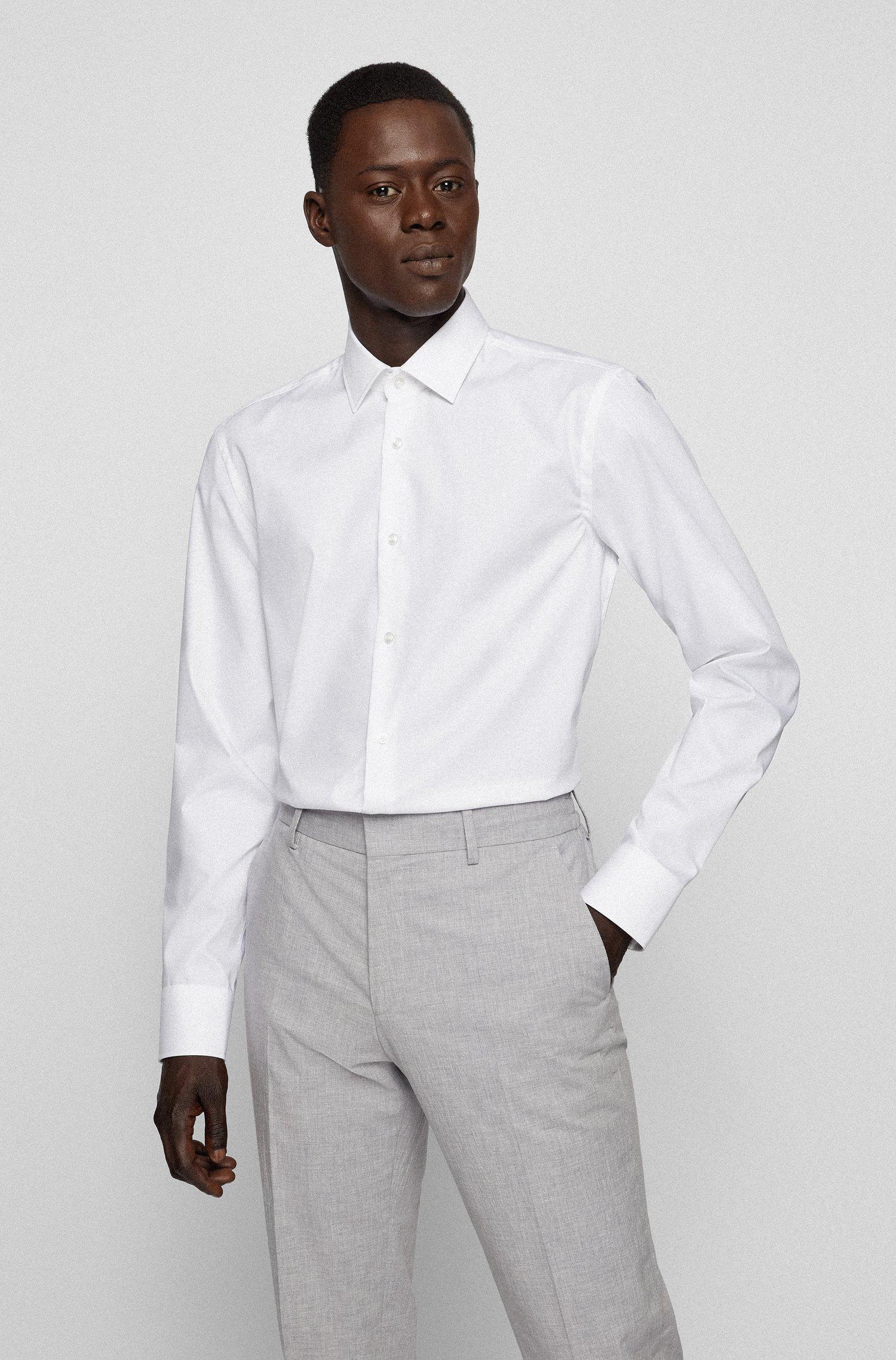 Slim-Fit Business-Hemd aus Baumwoll-Popeline, Weiß