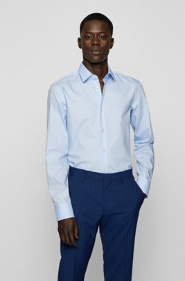 Slim-fit business shirt in cotton poplin, Light Blue