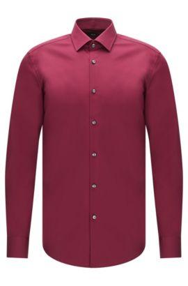 Slim-fit business shirt in cotton poplin, Dark Purple