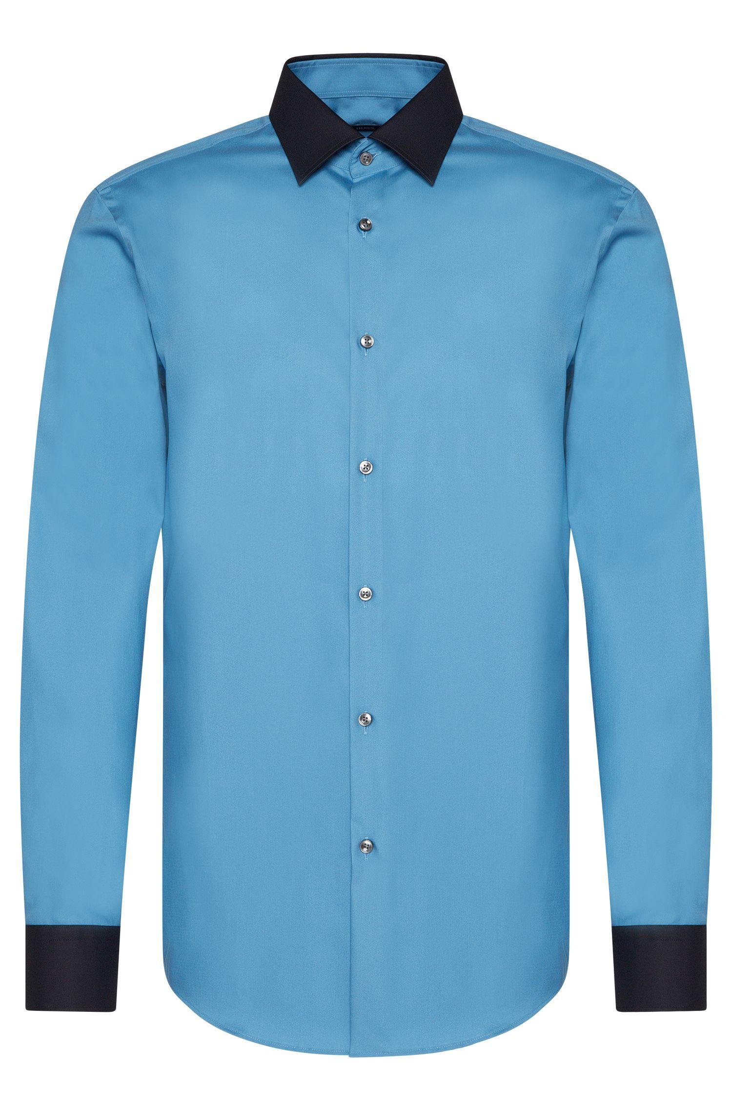 Slim-fit overhemd van zuiver katoen met contrastkleurige details: 'Jonnes'