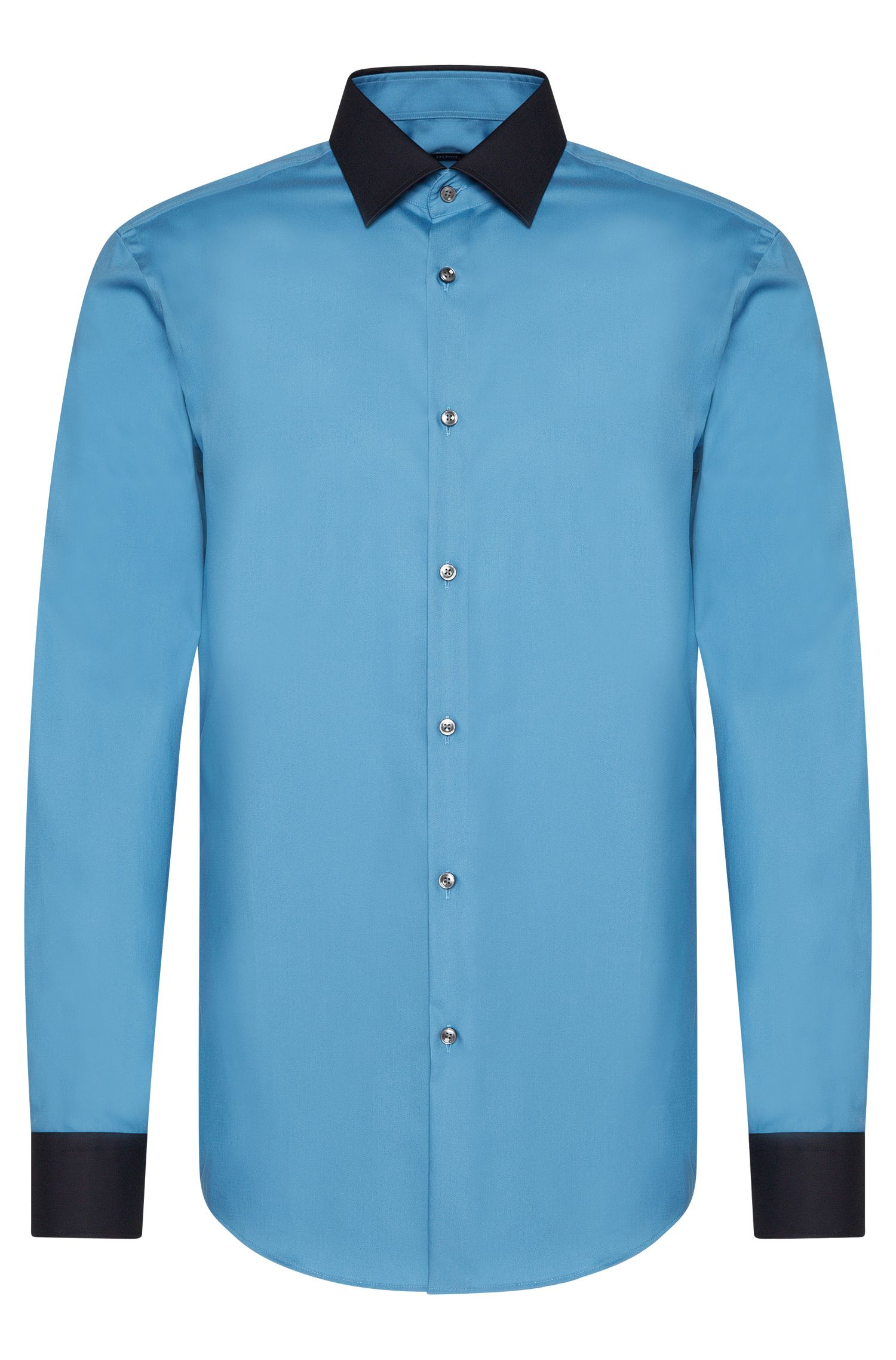 Slim-fit shirt in pure cotton with contrasting colour details: 'Jonnes'