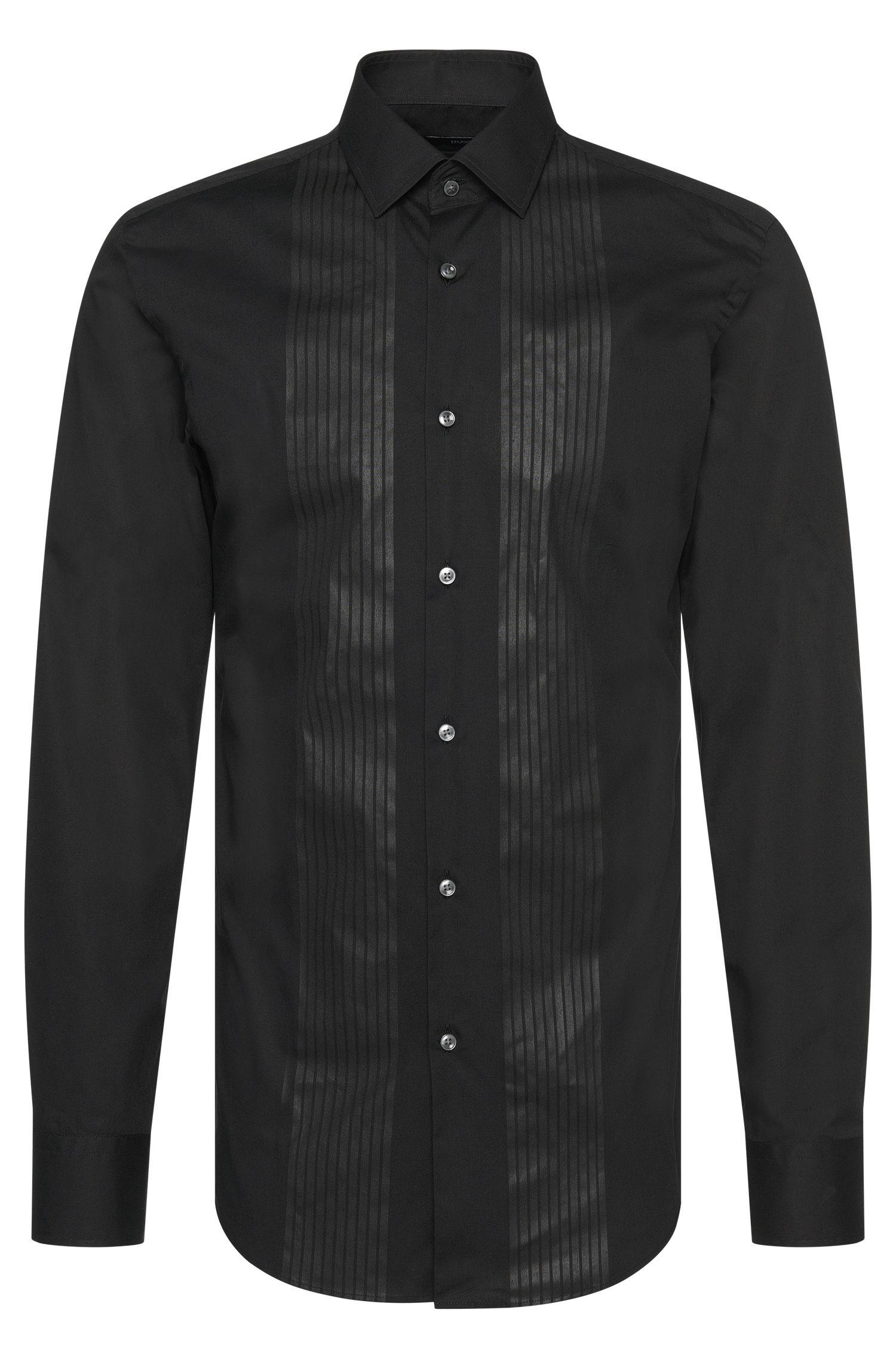 Camicia slim fit in cotone con stampa tono su tono: 'Jenno'