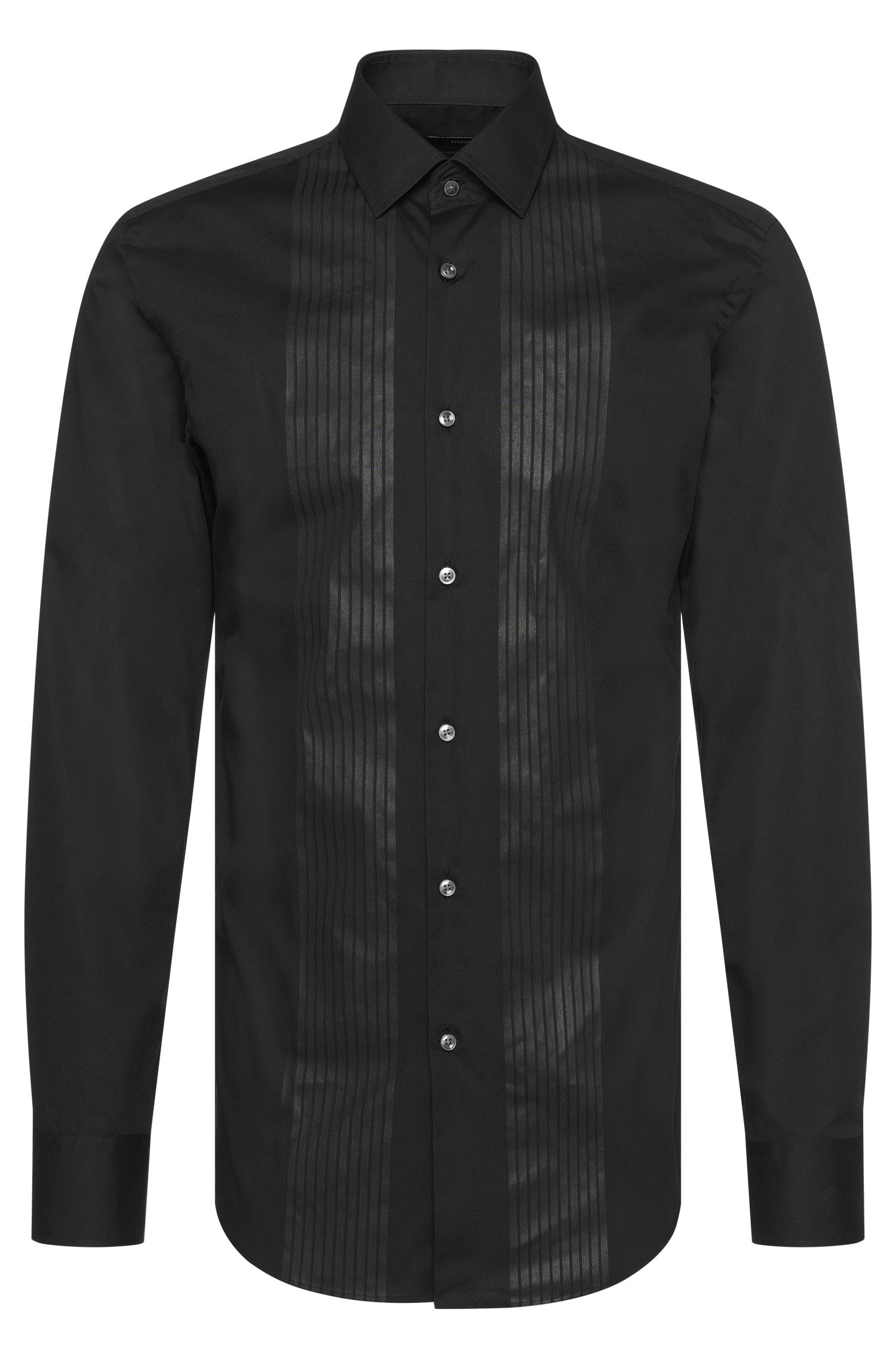 Slim-fit shirt in cotton with tone-on-tone print: 'Jenno'