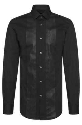 Slim-fit shirt in cotton with tone-on-tone print: 'Jenno', Black