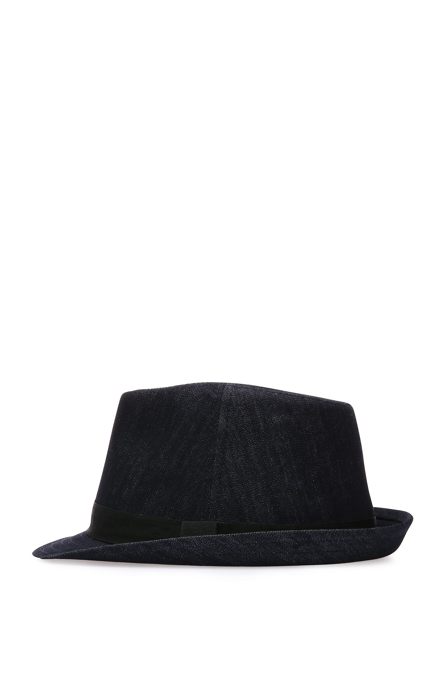 Chapeau Trilby en coton à la finition denim : « Feel »