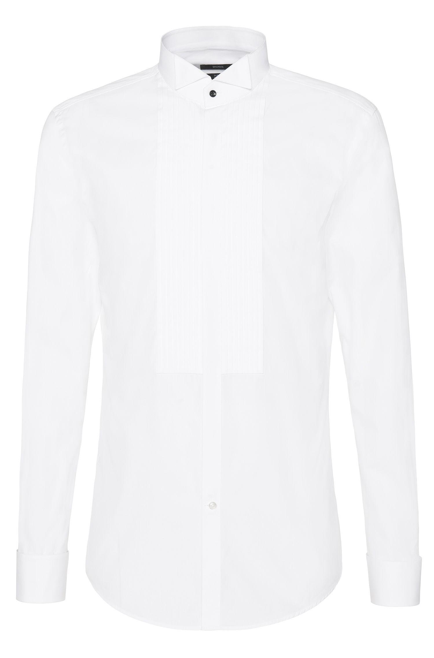 Camisa slim fit en algodón puro con aplique con pliegues: 'Javer'