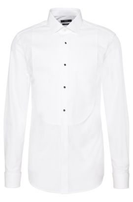 Slim-fit shirt in two-ply cotton with textured Ascot tie insert: 'Jant', White