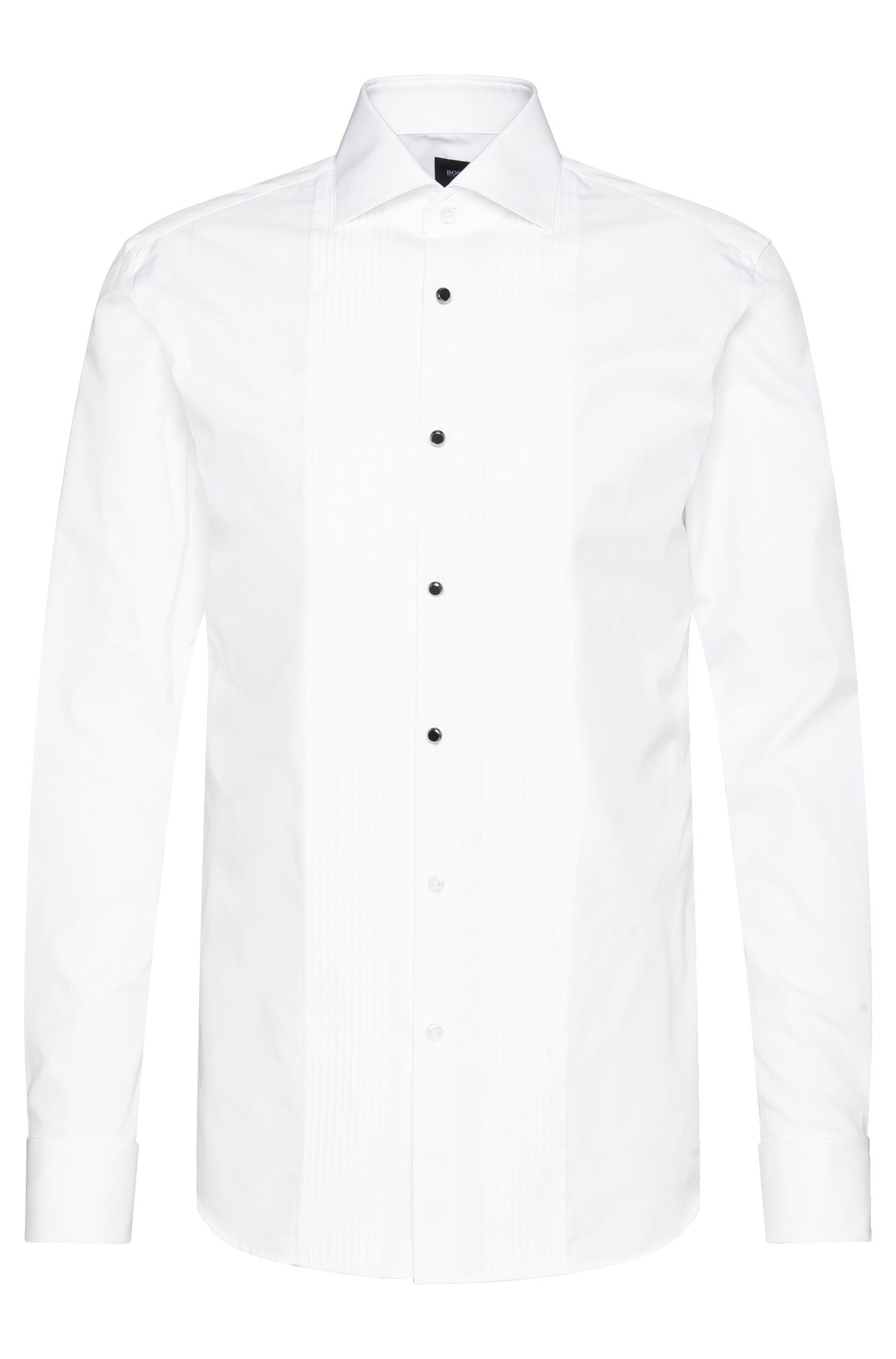 Slim-fit Tailored dress shirt in cotton with pintucks: 'T-Cameron'