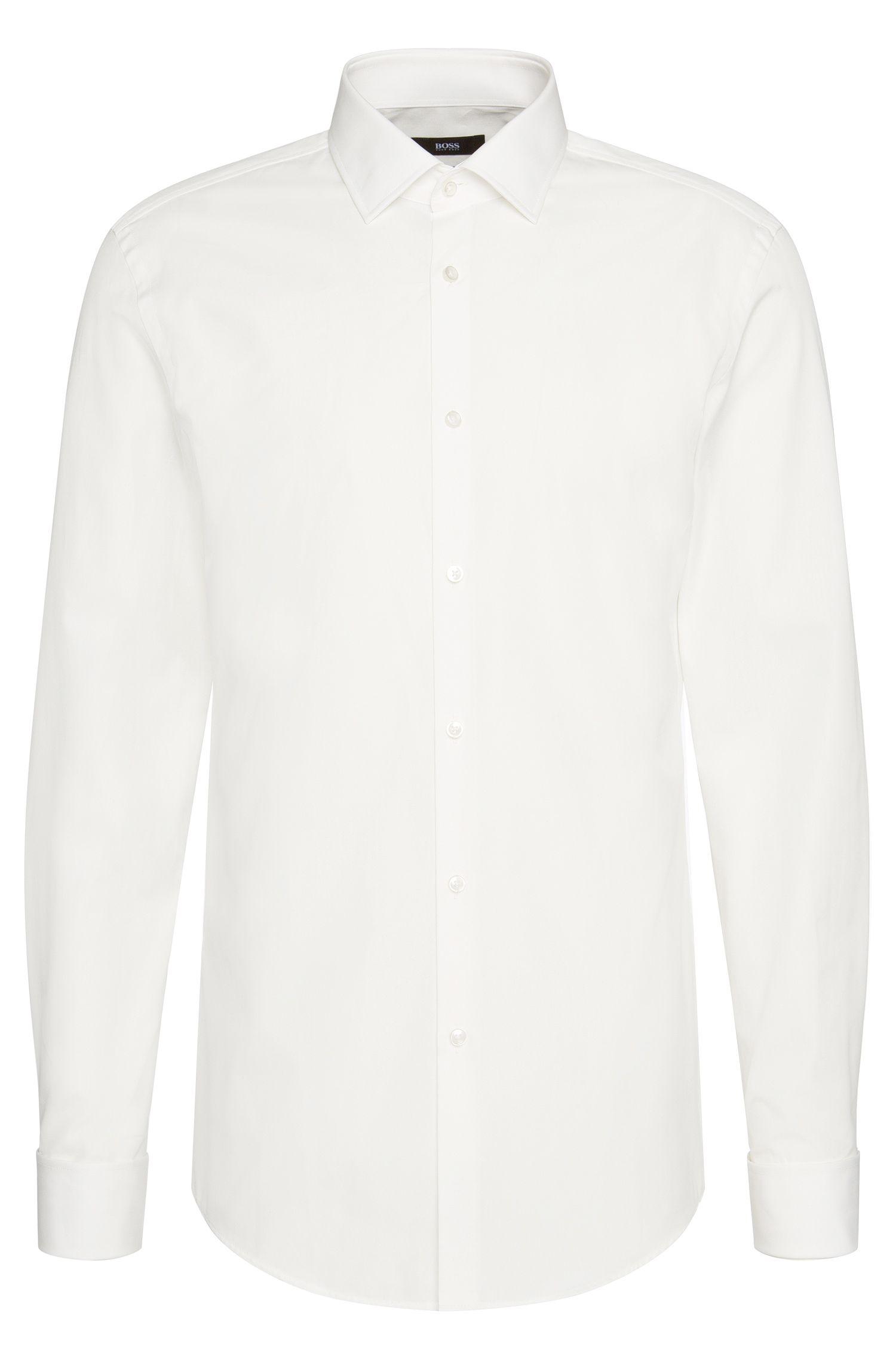 Slim-fit overhemd van katoen met omgeslagen manchetten: 'Jacques'