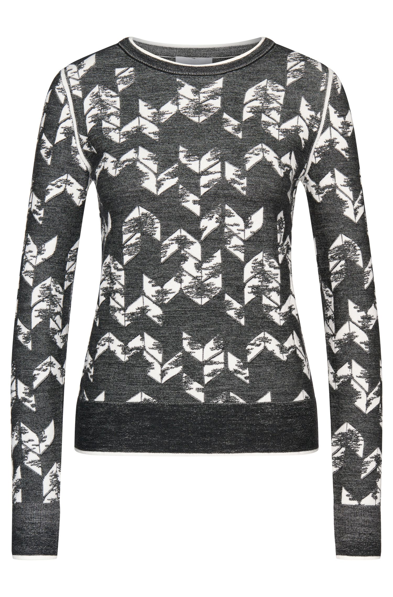 Patterned short-fit sweater in new-wool blend: 'Fabiana'