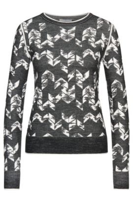 Patterned short-fit sweater in new-wool blend: 'Fabiana', Patterned