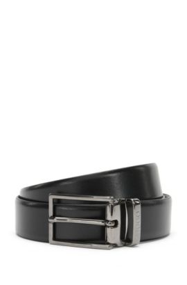 Reversible leather belt with 2 buckles: 'Giasone_Gb30_ps', Black
