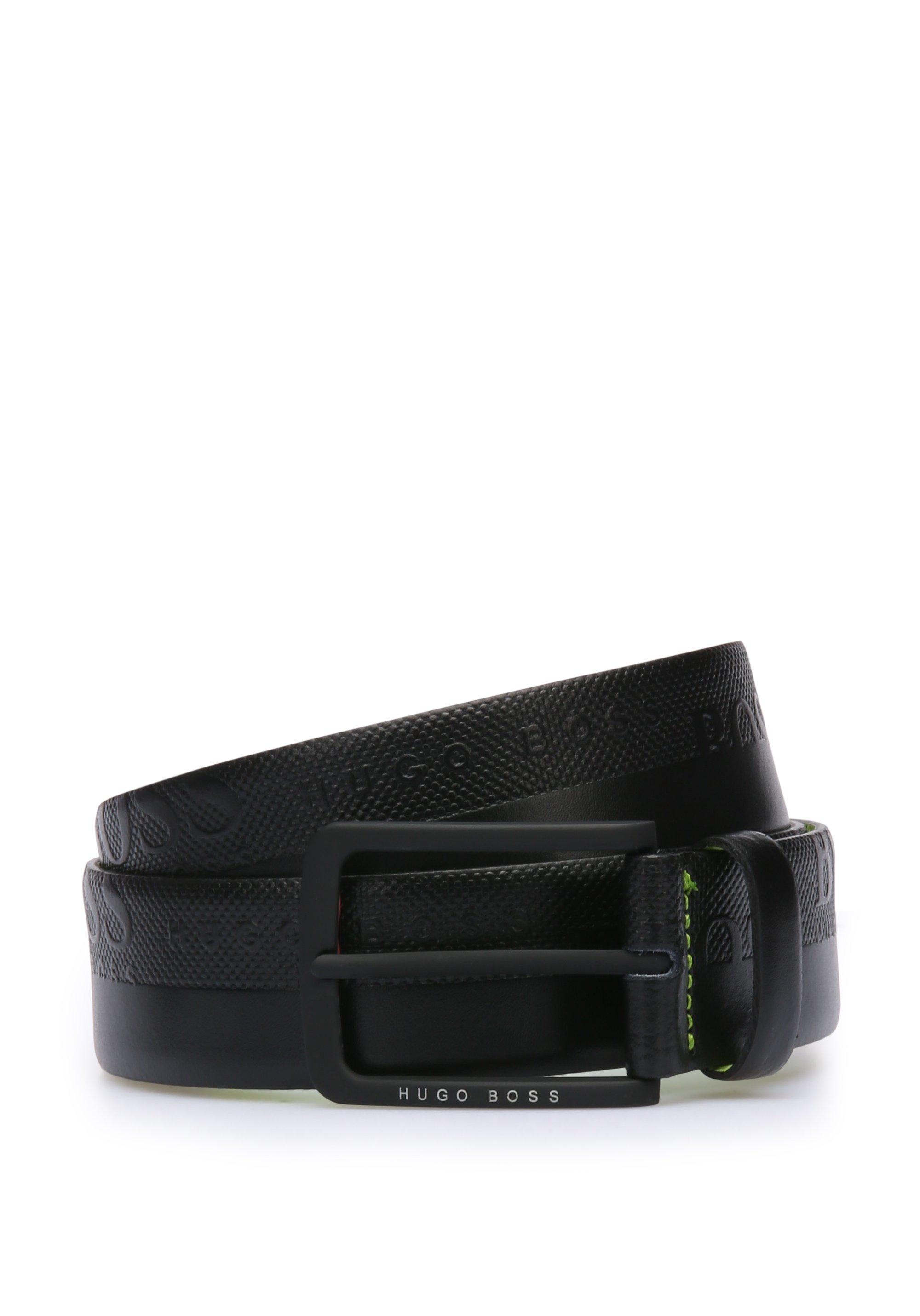 Leather belt with embosssed-logo strap, Black