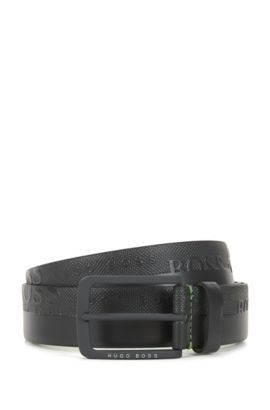 Leather belt with embosssed-logo strap, Dark Grey