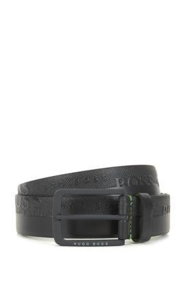 Leather belt with embosssed-logo strap, Dark Grey