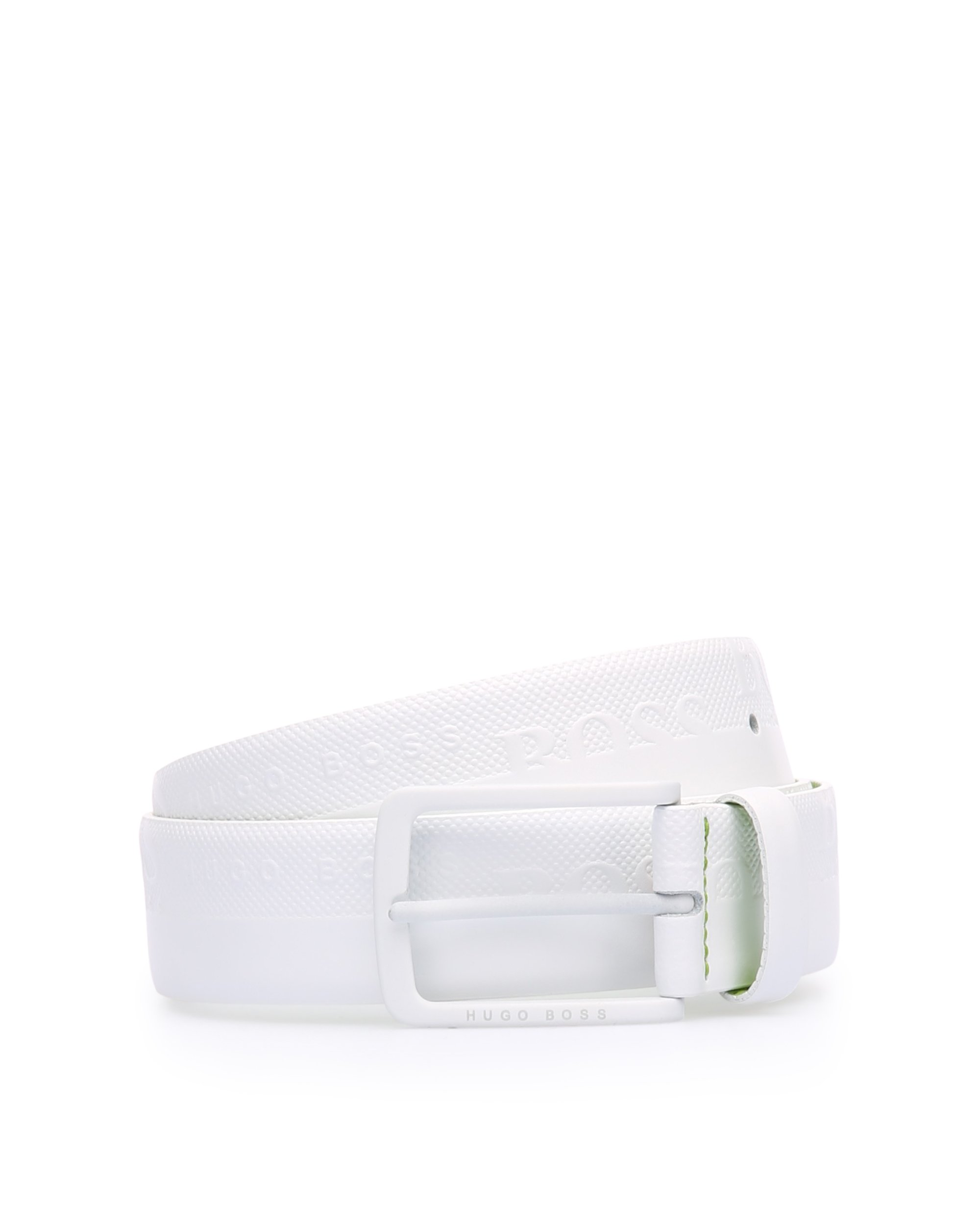Leather belt with embosssed-logo strap, White