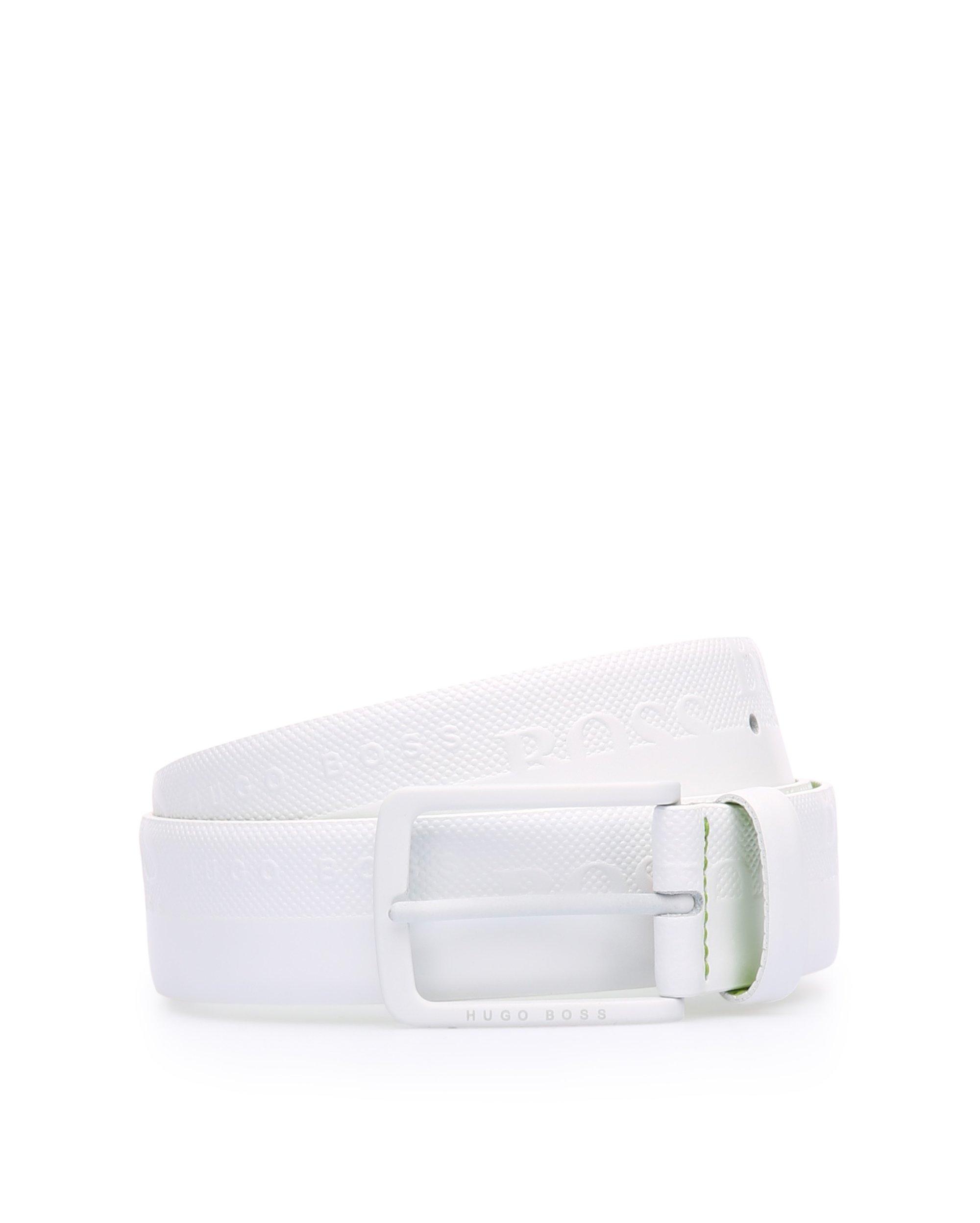Cintura in pelle con logo goffrato, Bianco