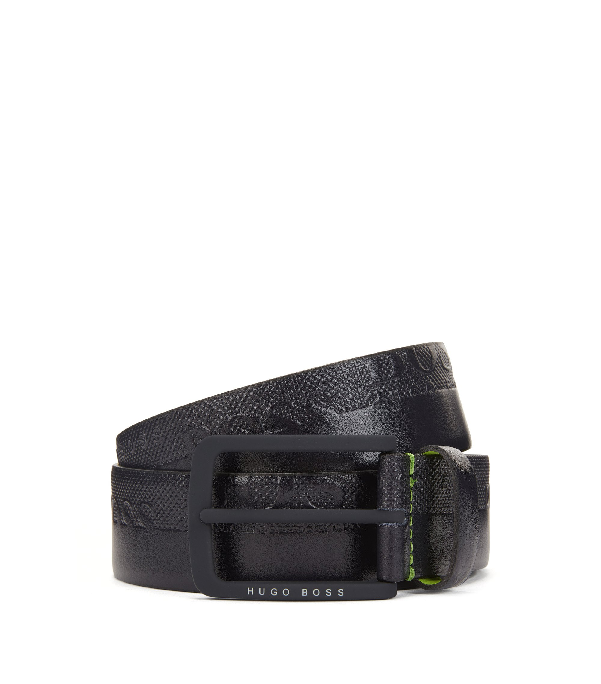 Leather belt with embosssed-logo strap, Dark Blue