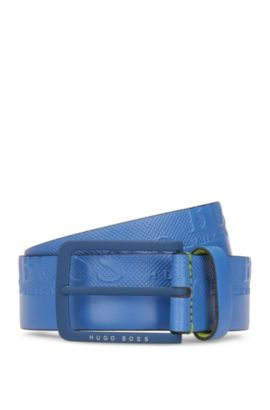 Leather belt with embosssed-logo strap, Open Blue