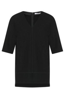 Pull en laine à la texture feutrée : «Ilisse», Noir