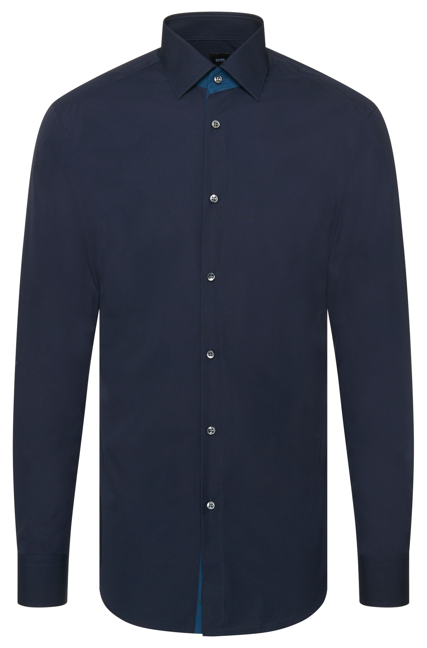 Camicia Tailored slim fit in cotone tinta unita: 'T-Clark'