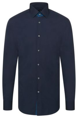 Camicia Tailored slim fit in cotone tinta unita: 'T-Clark', Blu scuro