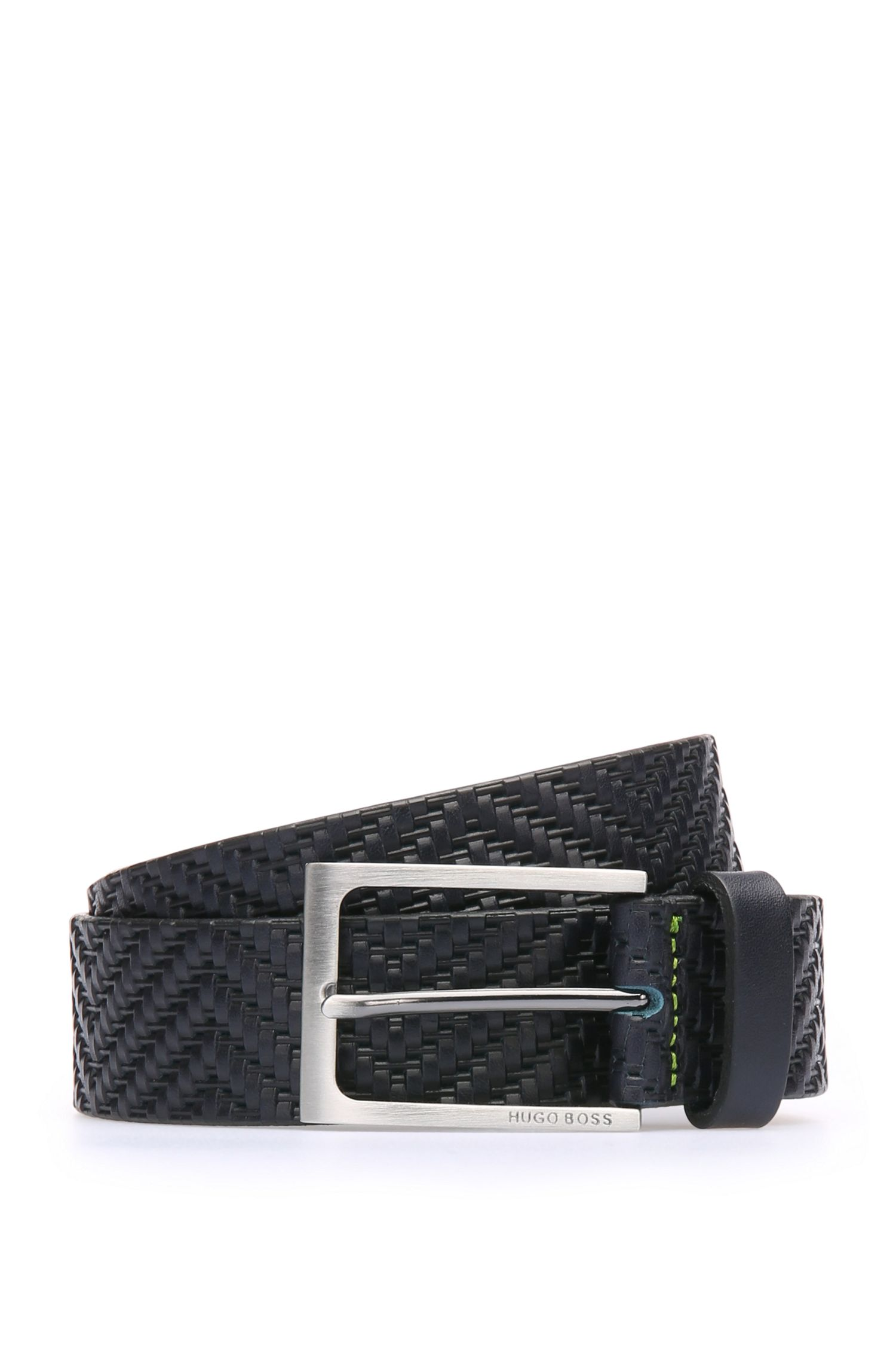 Leather belt with fabric texture: 'TuriSz35ltem'