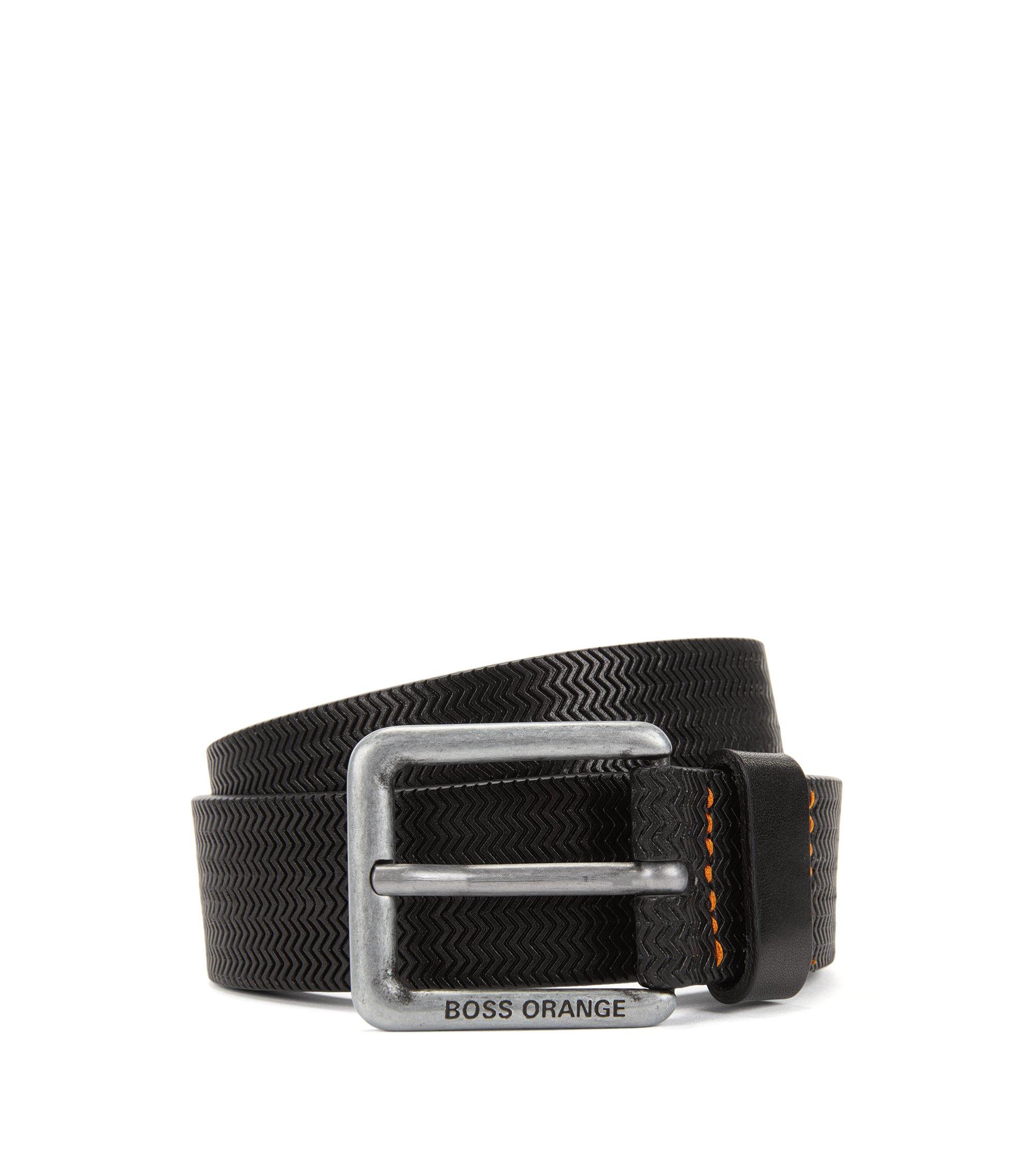 Geprägter Ledergürtel mit Dornschließe, Schwarz