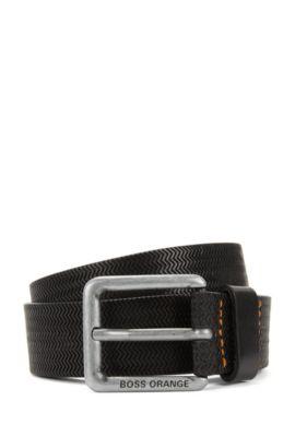 Cinturón con hebilla en piel repujada, Negro
