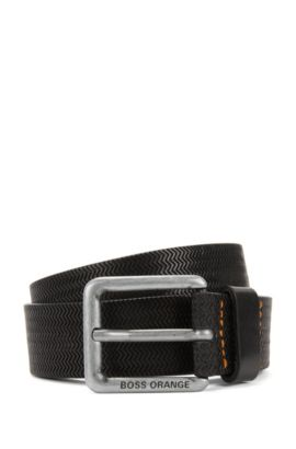 Embossed-leather belt with pin buckle, Black
