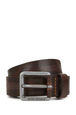 Cintura in pelle con stampa goffrata e fibbia ad ardiglione, Marrone scuro