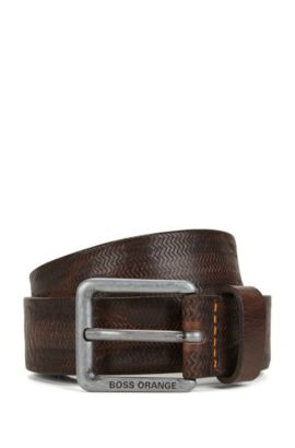 Embossed-leather belt with pin buckle, Dark Brown